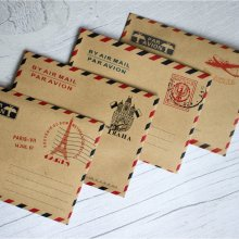 Mini Vintage 'Par Avion' Airmail Envelopes x 40 - Favours / Scrapbooking Craft