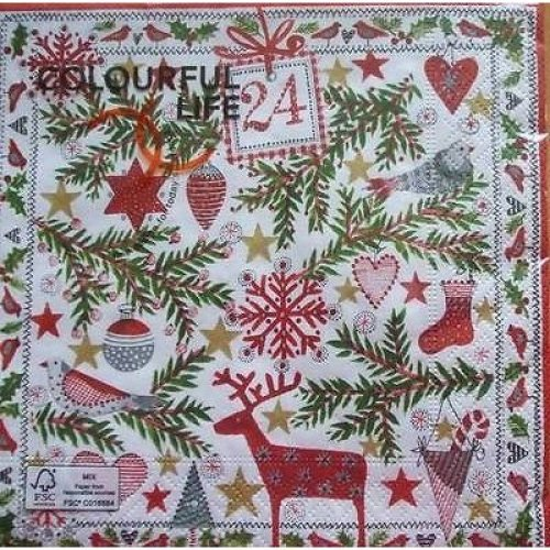 4 x Christmas Paper Napkins - Christmas Motives - Ideal for Decoupage