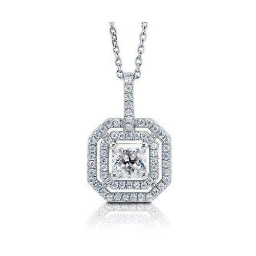 Necklace Pendant Round &Princess Cut Diamond Solid White Gold 14K Jewelry