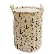 The Navy Style Foldable Large Laundry Basket Hamper Storage Bag, White Anchor