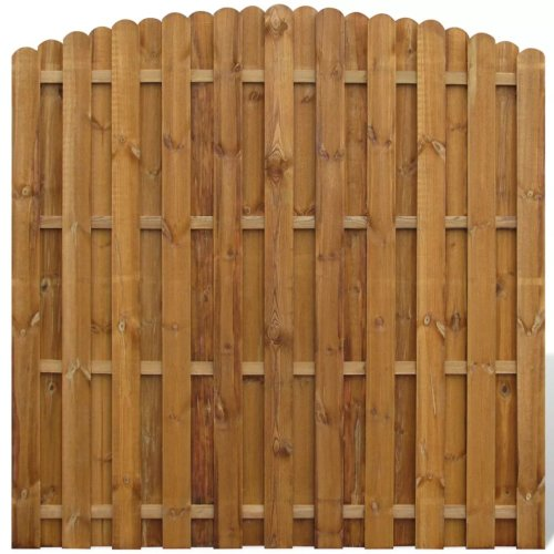 vidaXL Vertical Wooden Hit & Miss Fence Panel with Arched Design Garden Border