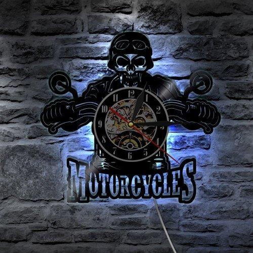 Motorcycles Bikers Classic King Skull LED Light Vinyl Wall Clock
