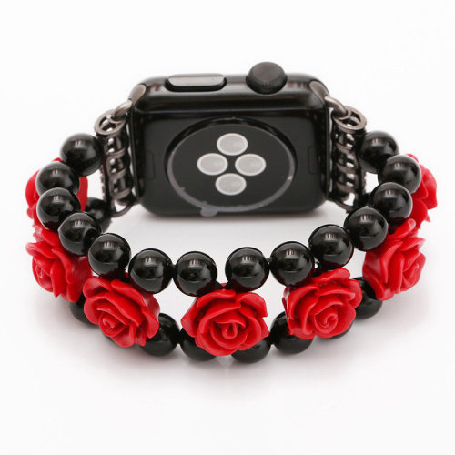 38 42mm Band Width Women Girl Black Agate carved Strap For Apple Watch
