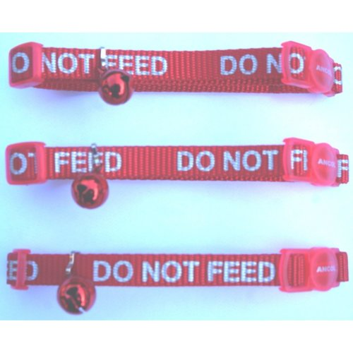 Ancol do not feed reflective red cat collars pack of three