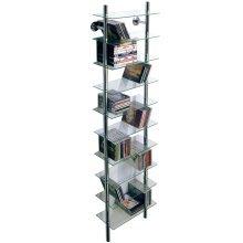MAXWELL - Wall Mounted Glass 300 CD / Media/ Bathroom 10 Tier Storage Shelves