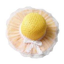 Children Princess  Lace Bowknot Beach Hat Sun Hat Girls Hat,YELLOW