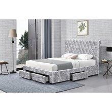 Crushed Velvet Silver Magnificent 4 Drawer Bed