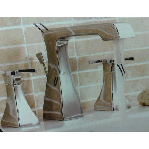 Counter Top Inset Basin Taps 3 Hole Sink Mixer Chrome Designer Square Bathroom