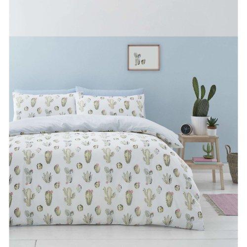 Catherine Lansfield Cactus Easy Care Double Duvet Set Green