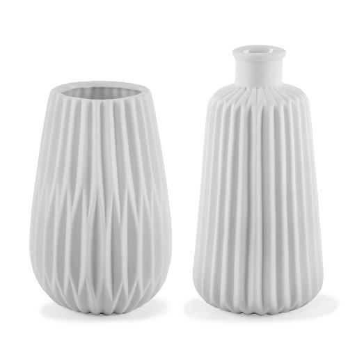 Esko' White Geometric Porcelain Contemporary Vase Duo for the Home