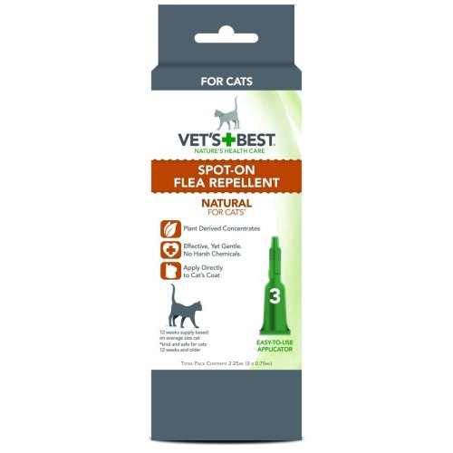 Vets Best Natural Spot On Flea Repellent For Cats 3x0.75ml Vial Display Unit (Pack of 6)