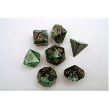 Chessex Gemini Polydice Set - Black-Green/gold