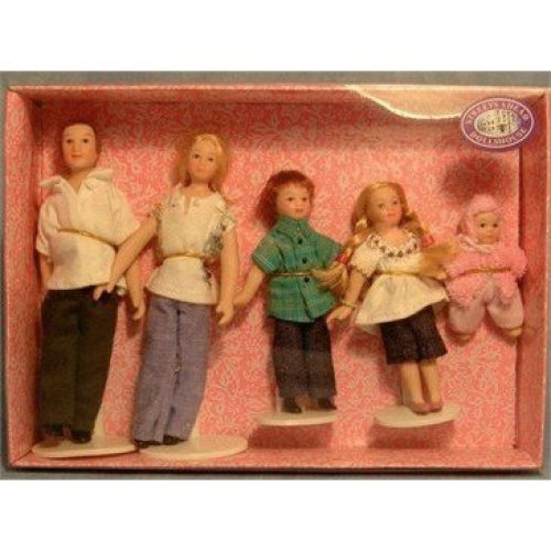 1:12 Scale Dolls for Doll Houses Poseable 5 Piece Casual Family DP122