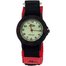 Relda Nite-Glo Quartz Luminous Dial Pink & Black Velcro Girls Watch REL56
