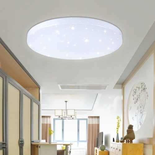 Vingo 50Â W Led Wall And Ceiling Light White Round Star Effect Modern Bedroom Nursery Decoration On