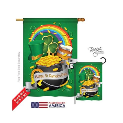 Breeze Decor 02027 St Pats Happy St. Patricks Day 2-Sided Vertical Impression House Flag - 28 x 40 in.