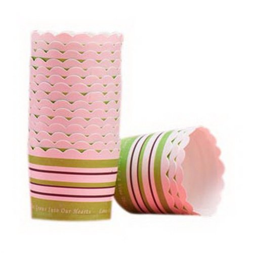 48 Pcs Striped Pattern Muffin Cups Bread Paper Trays Cake Baking Cups, Grassgeen