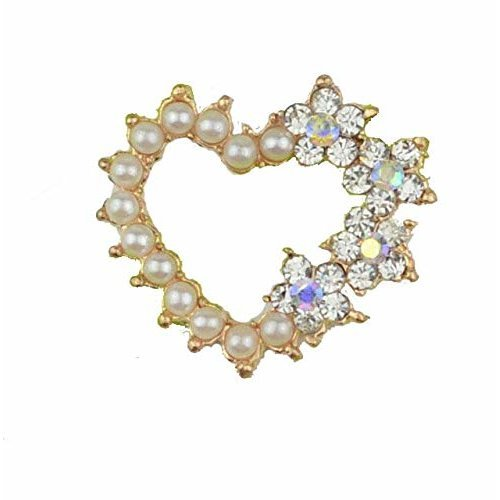 10 x Rose Gold Heart Shaped AB Diamante and Pearl Cluster Embellishments