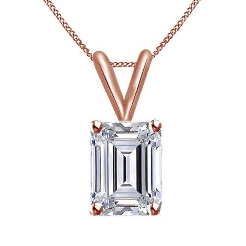 Rose Gold 14K Emerald Cut Diamond Necklace Pendant 2 Carats
