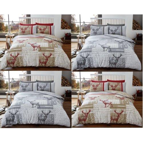 Christmas New Stag Deer Brushed Cotton Flannelette Duvet Cover Bedding Set