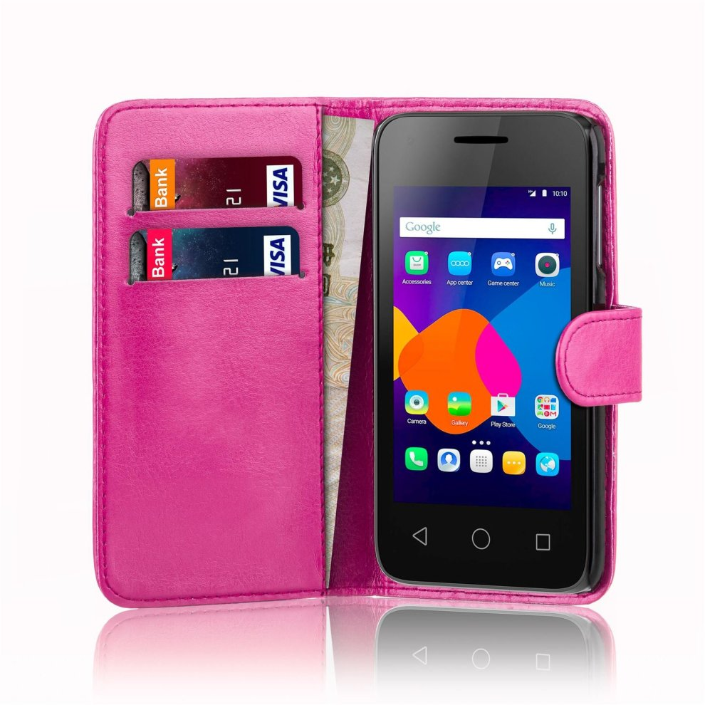 32nd Book Wallet PU Leather Flip Case Cover For Alcatel Pixi 4 (4 0),  Design With Card Slot and Magnetic Closure - Hot Pink