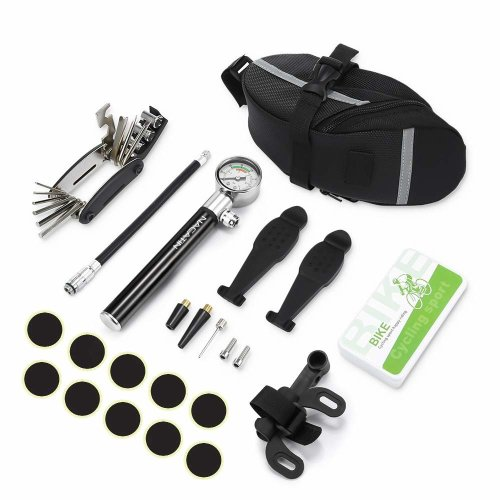 Tyre Repair Kit,Puncture Repair Kits for Bikes,with 3 In 1 Fish Prying Pod,16-in-1 Bicycle Repair Tool, Mini Bike Pump with High Pressure Gauge 210...