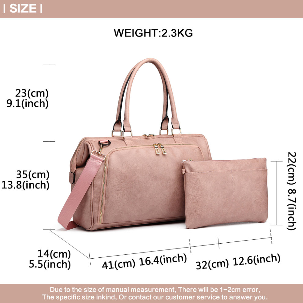 5f35a39089f3f ... Miss Lulu 3 Pieces Baby Nappy Diaper Changing Bag PU Leather Pink - 7  ...