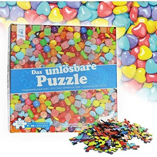 Gadget Storm Unsolvable Puzzle - Sweets - 500 Almost Identical Pieces -  Suitable from 9 Years Old - Joke Article - Riddle - Original Brainteaser  -