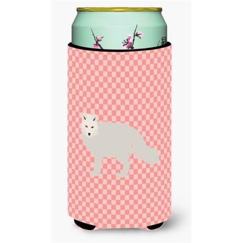 Carolines Treasures BB7877TBC White Arctic Fox Pink Check Tall Boy Beverage Insulator Hugger