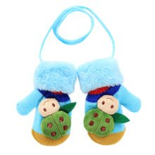 1 Pair Kids' Winter Glove Knitted Mittens With Sling(1-3 Years) Beetle Blue