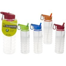 700ml Folding Straw Water Bottle & Carabiner Clip Sport Gym Cycling Hiking -