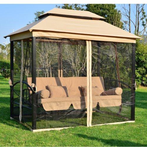 Outsunny 2-in-1 Swing Chair & Gazebo | 3-4 Seater Garden Hammock
