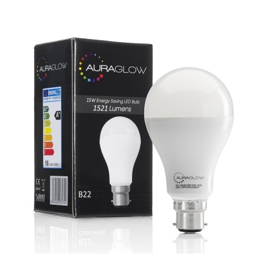 AURAGLOW Super Bright 15w LED B22 Bayonet Light Bulb, Cool White, 6500K -1521 Lumens - 100w EQV