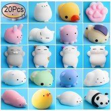 Mochi Squishy Stress Toys, Outee 20 Pcs Mochi Squishy Cat Animal Squishies