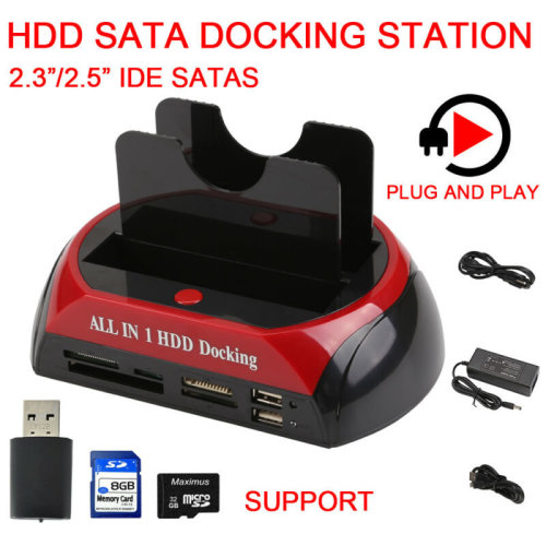 2.5? 3.5? Dual Hard Drive HDD Docking Station USB Dock Card Reader IDE SATA HUB