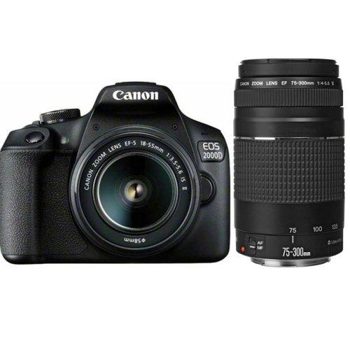 CANON EOS 2000D KIT EF-S 18-55mm F3.5-5.6 IS II+EF 75-300MM F4-5.6 III