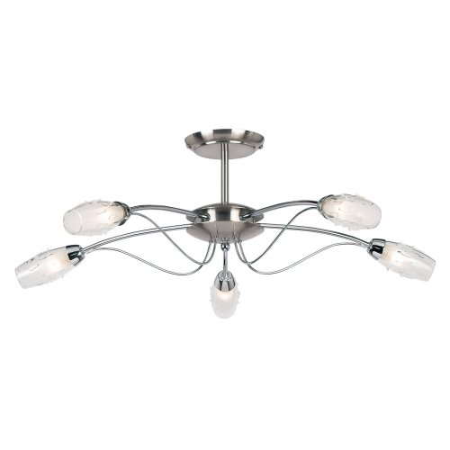 Modern 5 Arm Satin-Polished Chrome Semi Flush Ceiling Light