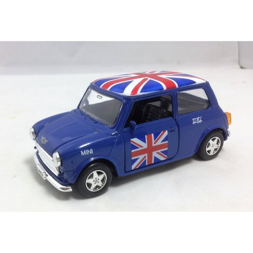 "detailed blue welly brand diecast metal ""old style"" mini cooper"