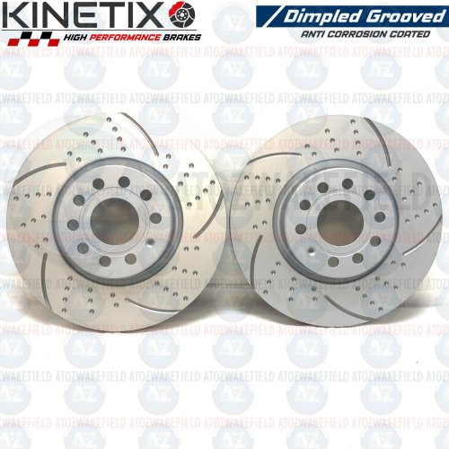 FOR AUDI Q3 2.0 TDI FRONT KINETIX DIMPLED GROOVED BRAKE DISCS PAIR 312mm COATED