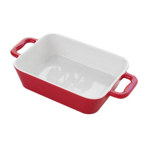 Rectangle Ceramic Bakeware Kitchen Cookware Cupcake Pans Oven Baking Tray,Red