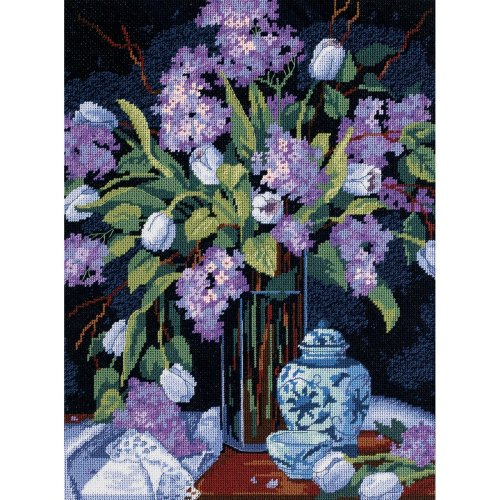 "Dimensions Needlepoint Kit 12""X16""-Tulips & Lilacs Stitched In Floss"