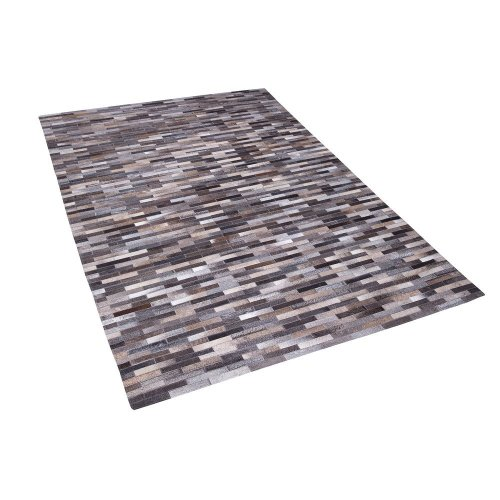 Cowhide Area Rug 140 x 200 cm Grey and Bige AHILLI