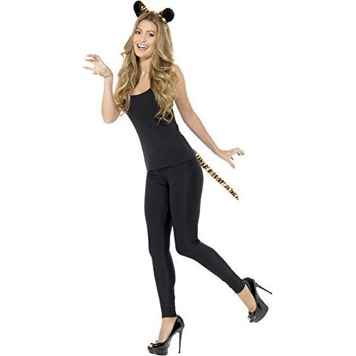 Smiffy's 48386 Adult Tiger Kit, Black & Orange, One Size -  animal tail fancy dress adults headband sets instant outfit tiger ladies ears jungle