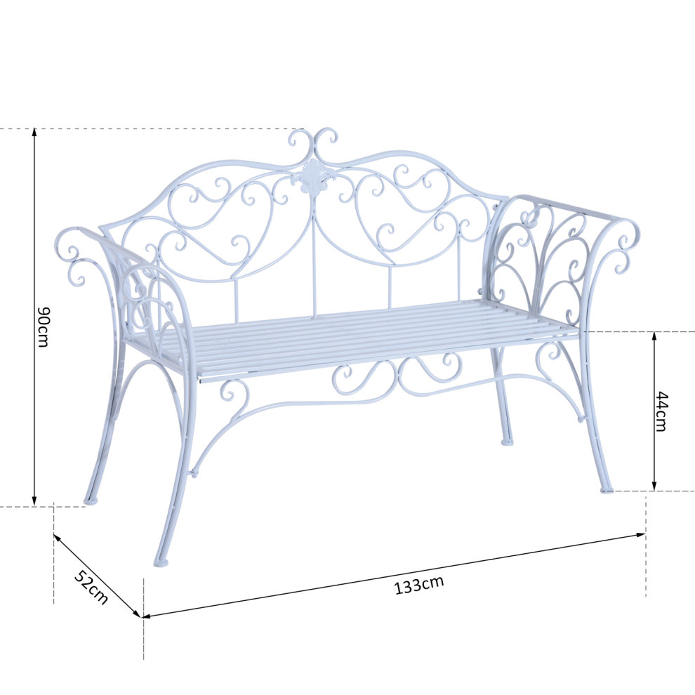 Tremendous Outsunny 2 Seater Garden Bench Antique Backyard Decorative Cast Iron Backrest White Machost Co Dining Chair Design Ideas Machostcouk