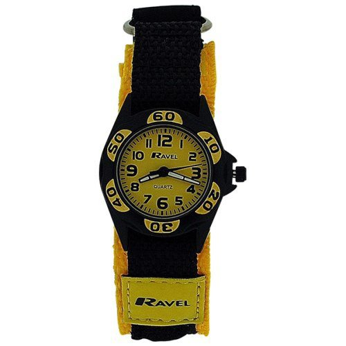 Ravel Analogue Boys Black & Yellow Fabric Velcro Strap Watch R1507.25