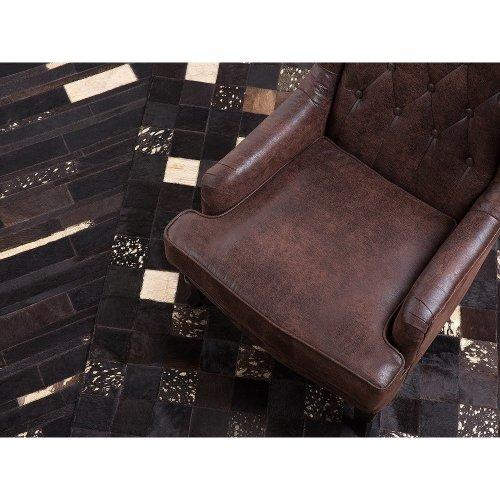 Rug - Carpet - Cowhide Rug - Patchwork -  - Brown and Gold - BANDIRMA