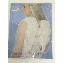 Angel Wings, White, Feathered, 30cmx40cm / 12inx16in -  angel white wings feather fancy dress smiffys 30 x christmas 40 cm