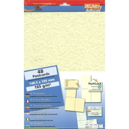 DECADRY SCB7645 Make your Own Postcards A4 Paper 4 to a sheet.,48 Parchment Postcards Perforated 165gr Heavyweight paper