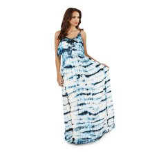 Ladies, Pistachio, Tie Dye Striped Pleat Overlay Maxi Dress, Blue Waves