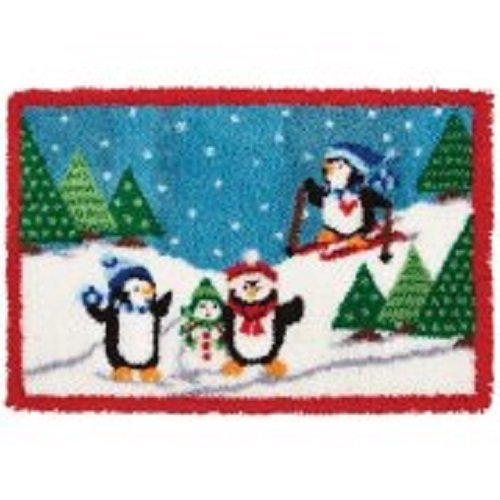 "Latch Hook Rug Kit""Three Penguins Snow Scene"" 90x60cm"
